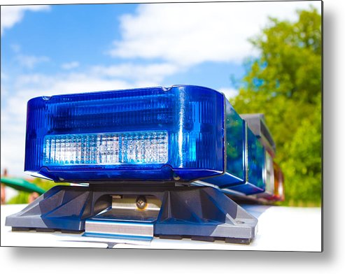Arrest Metal Print featuring the photograph Police Lights by Fizzy Image