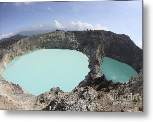 Horizontal Metal Print featuring the photograph Colourful Crater Lakes Of Kelimutu by Richard Roscoe
