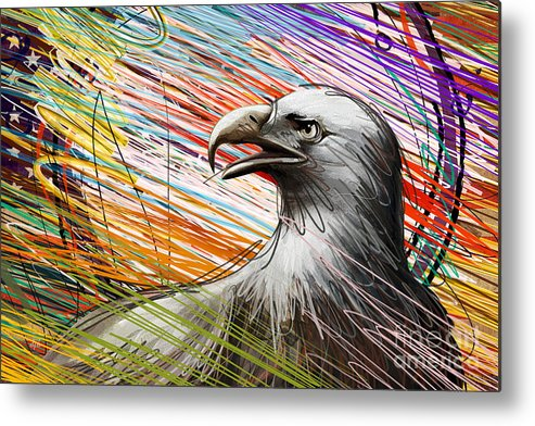 Eagle Metal Print featuring the digital art American Eagle by Bedros Awak