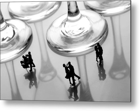 Black And White Metal Print featuring the painting Dancing Among Glass Cups by Paul Ge