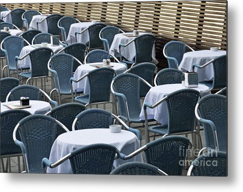 Blue Metal Print featuring the photograph Empty Restaurant Seats And Tables by Sami Sarkis
