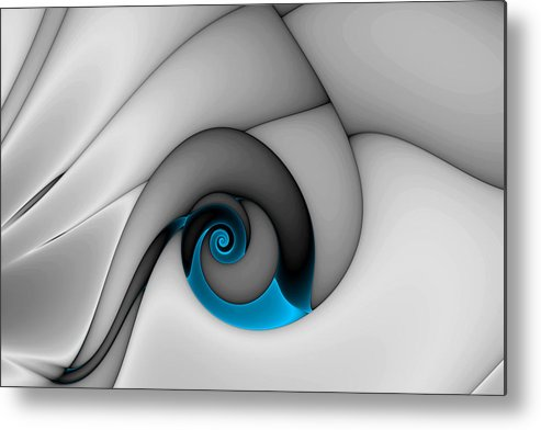 Abstract Metal Print featuring the digital art Fractures Curl Blue by Mark Eggleston
