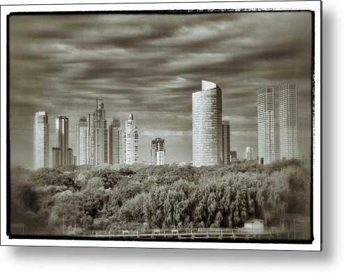Buenos Aires Metal Print featuring the relief Modern Buenos Aires Black And White by For Ninety One Days
