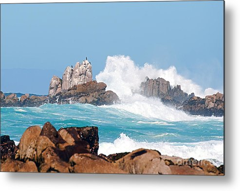 Monterey Bay Metal Print featuring the photograph Monterey Bay Waves by Artist and Photographer Laura Wrede