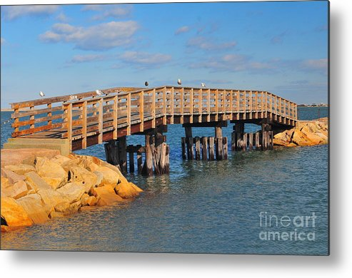 Plymouth Massachusetts Metal Print featuring the photograph Plymouth Harbor Breakwater by Catherine Reusch Daley