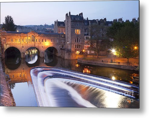 Architecture Metal Print featuring the photograph Pulteney Bridge And Weir Bath by Colin and Linda McKie