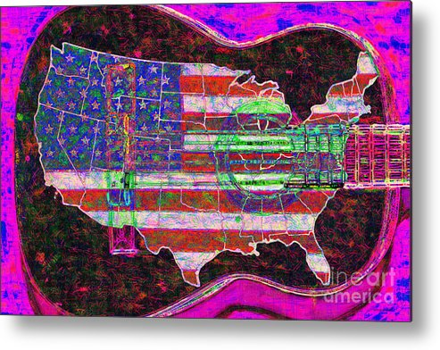 Music Metal Print featuring the photograph Rock And Roll America 20130123 Violet by Wingsdomain Art and Photography