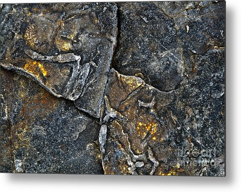 Stone Metal Print featuring the photograph Structural Stone Surface by Heiko Koehrer-Wagner