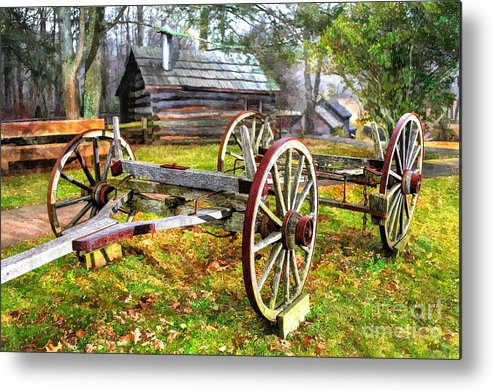 North Carolina Metal Print featuring the photograph Vintage Wagon On Blue Ridge Parkway I by Dan Carmichael