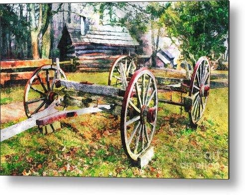 North Carolina Metal Print featuring the painting Vintage Wagon On Blue Ridge Parkway II by Dan Carmichael