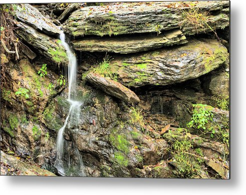 Waterfall Mountain Mountains Creek Stream Spring Fed Natural Nature Harpers Ferry West Virginia Wv Va Md Maryland Potomac Shenandoah River Rivers Basin Watershed Falling Waters Metal Print featuring the photograph Falling Waters by JC Findley