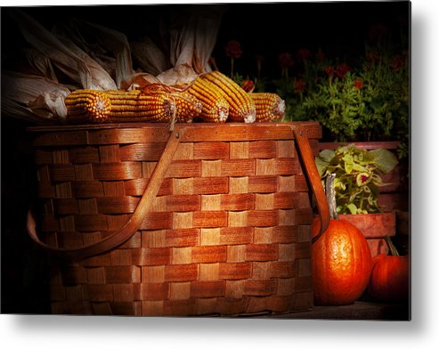 Picnic Metal Print featuring the photograph Autumn - Gourd - Fresh Corn by Mike Savad