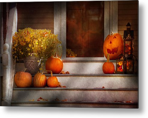 Autumn Metal Print featuring the photograph Autumn - Halloween - We're All Happy To See You by Mike Savad
