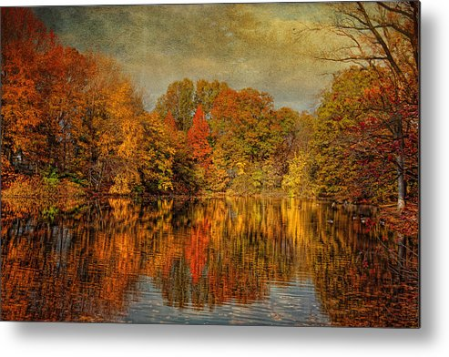 Autumn Metal Print featuring the photograph Autumn - Landscape - Tamaques Park - Autumn In Westfield Nj by Mike Savad