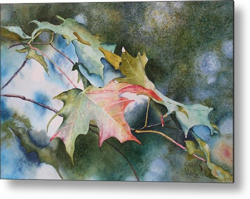 Close Focus Nature Scene Metal Print featuring the painting Autumn Sparkle by Patsy Sharpe