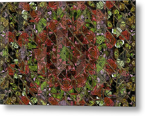Chaos Abstract Digital Painting Red Rose Roses Black Hole Mosaic Texture  Metal Print featuring the painting Chaos by Steve K