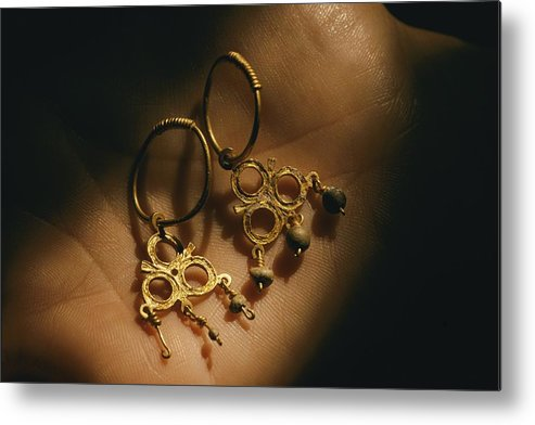 Atlantic Islands Metal Print featuring the photograph Gold Earrings Hung With Pearls Are Part by Ira Block