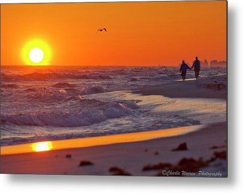 Beach Metal Print featuring the photograph Lover's Stroll by Charles Warren