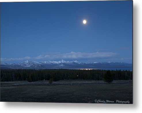 Moonrise Metal Print featuring the photograph Moonrise At Fishing Bridge by Charles Warren