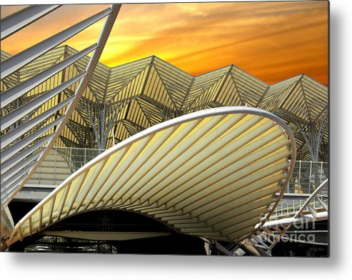 Abstract Metal Print featuring the photograph Oriente Station by Carlos Caetano