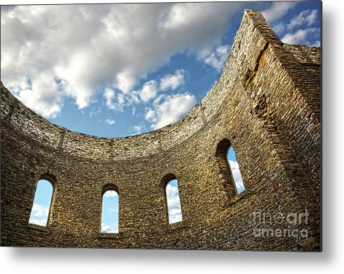 Architecture Metal Print featuring the photograph Ruin Wall With Windows Of An Old Church by Sandra Cunningham