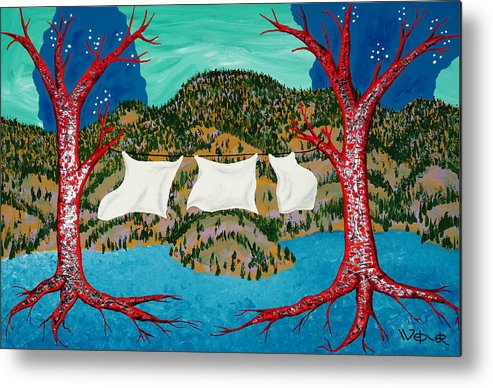 Trees Metal Print featuring the painting Three Sheets To The Wind by Randall Weidner