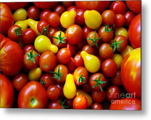 Abundance Metal Print featuring the photograph Tomatoes Background by Carlos Caetano