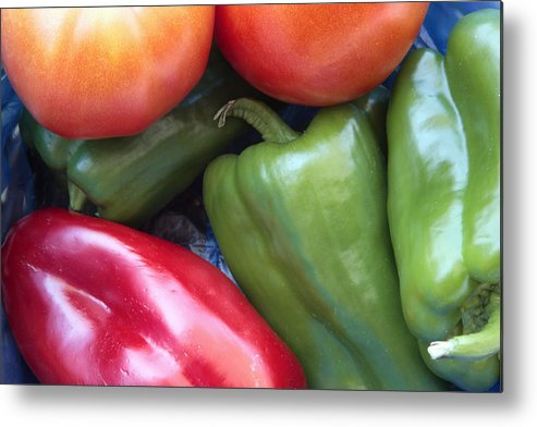 Red Metal Print featuring the photograph Fresh Peppers And Tomatoes by Steve Outram