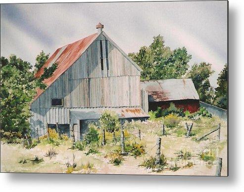 Barn Metal Print featuring the painting August 2nd by Jackie Mueller-Jones