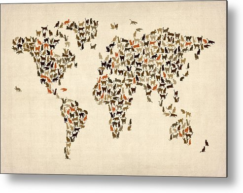 World Map Metal Print featuring the digital art Cats Map Of The World Map by Michael Tompsett