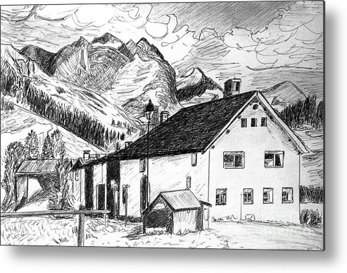 Switzerland Metal Print featuring the drawing Fextal Switzerland by Monica Engeler
