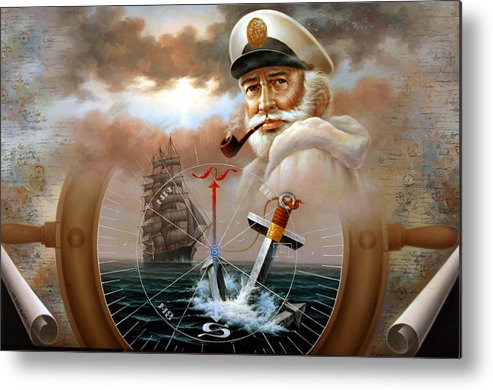sea Captain Metal Print featuring the painting News Map Captain 2 Or Sea Captain by Yoo Choong Yeul