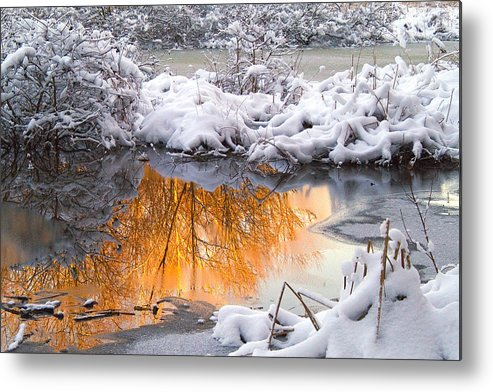 Reflections Metal Print featuring the photograph Reflections In Melting Snow by Neil Doren