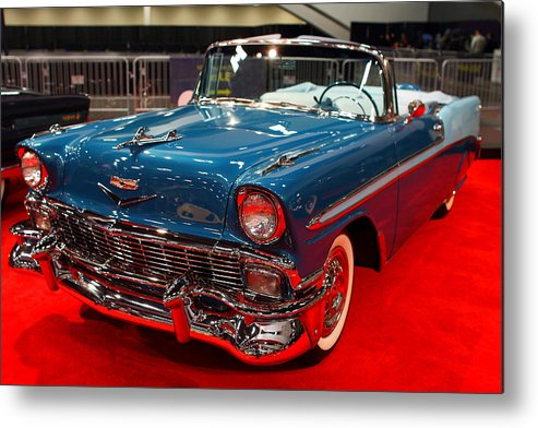 Transportation Metal Print featuring the photograph 1956 Chevrolet Bel-air Convertible . Blue . 7d9248 by Wingsdomain Art and Photography