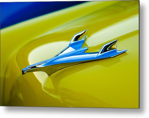 1956 Chevrolet Metal Print featuring the photograph 1956 Chevrolet Hood Ornament by Jill Reger