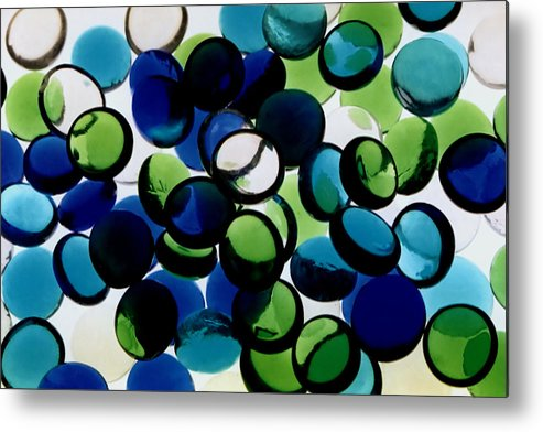 Abstract Design Flat Marbles Stones Glass Random Clear Translucent Blue Green White Colorful Colourful Photograph Photography Metal Print featuring the photograph Abstract Blue Green II by Susan Stevenson