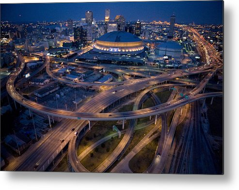 Night Metal Print featuring the photograph Aerial Of The Superdome In The Downtown by Tyrone Turner