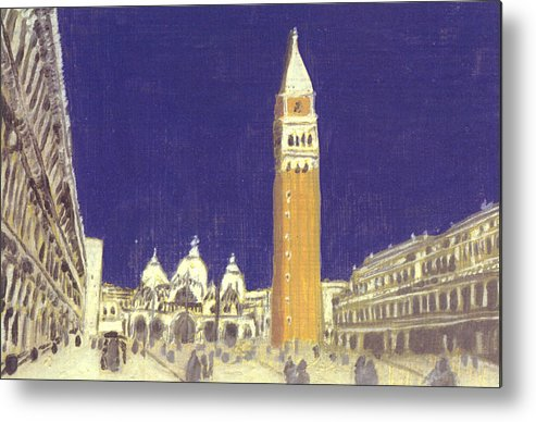 Landscape Metal Print featuring the painting After St. Mark's Square Towards The Basilica by Hyper - Canaletto