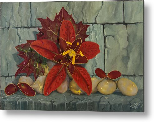 Ambrosia Metal Print featuring the painting Ambrosia Flower by Popescu Florinel Pentegos