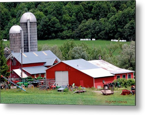 Barns Metal Print featuring the digital art Americas Heartland by DigiArt Diaries by Vicky B Fuller
