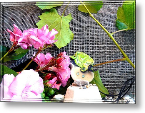 Flower Metal Print featuring the photograph Among Leaves And Flowers by Chara Giakoumaki