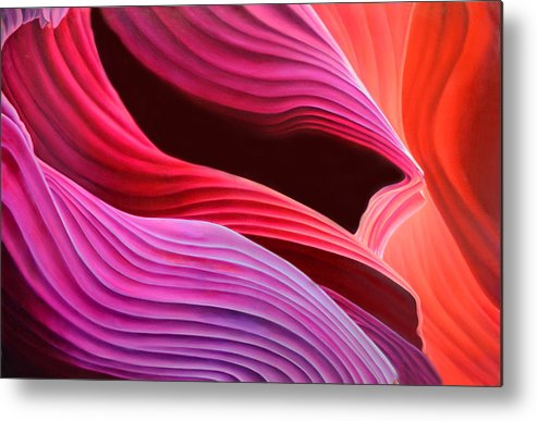 Antelope Canyon Metal Print featuring the painting Antelope Waves by Anni Adkins