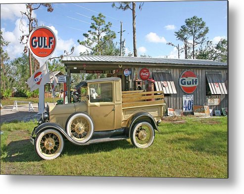 Ford Metal Print featuring the photograph Antique Ford Truck by Francesco Roncone
