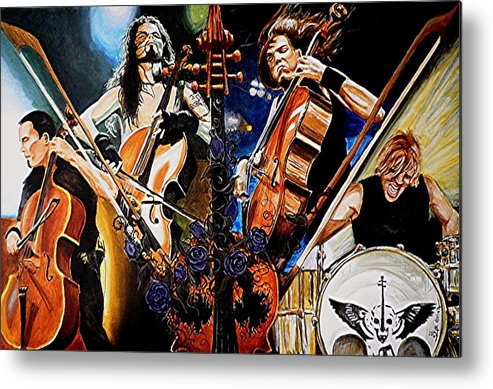 Chello Metal Print featuring the painting Apocalyptica by Al Molina