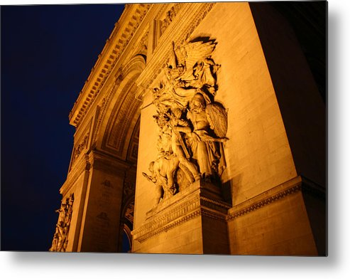Digitial Photography Metal Print featuring the photograph Arc De Triomphe At Night by Jennifer McDuffie