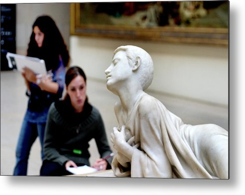 French Metal Print featuring the photograph Art Students In The Louvre by Carl Purcell