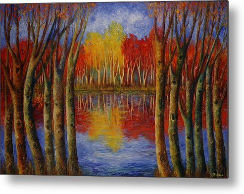 Landscape Metal Print featuring the painting Autumn. by Evgenia Davidov