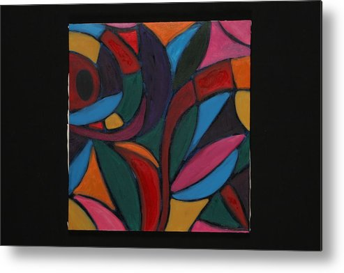 Abstract Metal Print featuring the painting Autumn Light by Mary Silver