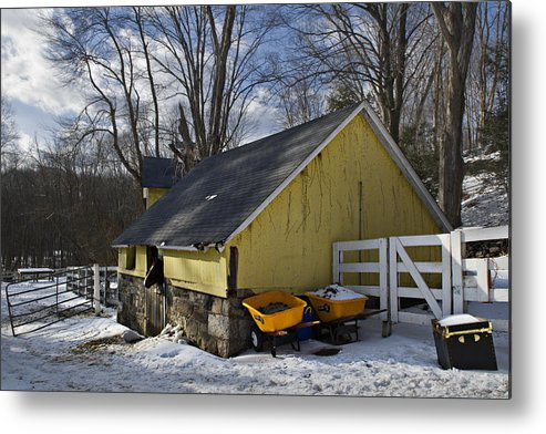 Horse Metal Print featuring the photograph Barn In Winter by Jack Goldberg