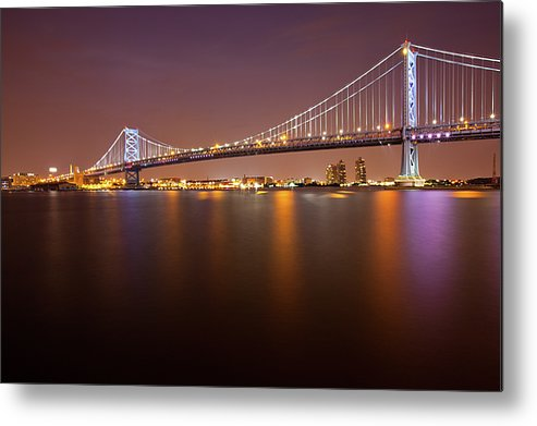 Horizontal Metal Print featuring the photograph Ben Franklin Bridge by Richard Williams Photography